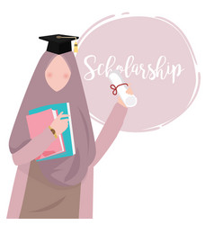 woman islam education wearing scarf graduation vector image