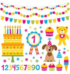 birthday party design elements set vector image