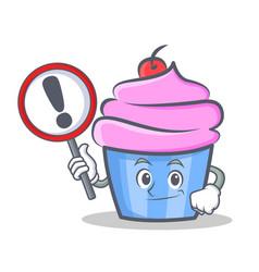 bring sign cupcake character cartoon style vector image vector image