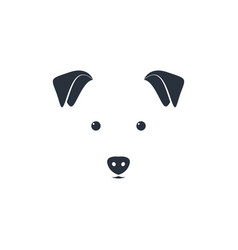 cute dog head on white background minimal iconic vector image vector image