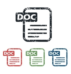 Doc file grunge icon set vector image vector image