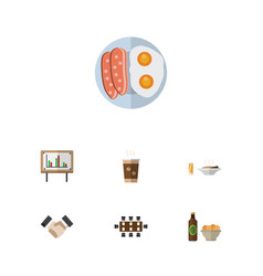 flat icon life set of boardroom beer with chips vector image vector image
