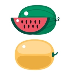 Fresh orange pumpkin and watermelon isolated vector image vector image