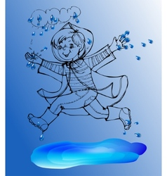 Sketch Boy under rain spring jump in the puddles vector image
