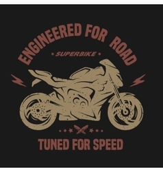 Sport bike Emblem t-shirt graphics vector image vector image