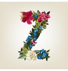Z letter Flower capital alphabet Colorful font vector image vector image