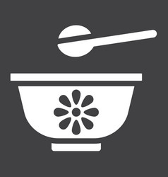 Baby bowl solid icon baby food and nutrition vector