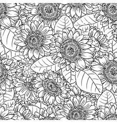 black and white seamless pattern with sunflower vector image vector image