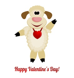 Cheerful lamb with a red heart on her neck vector image