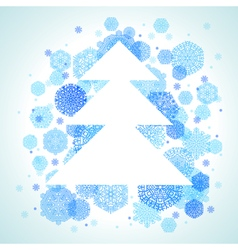 Christmas tree snowflakes blue abstract background vector image
