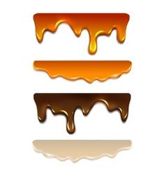 Set melting chocolate milk cream liquid caramel vector