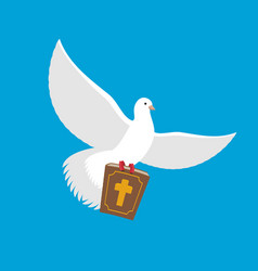 white dove and bible pigeon and holy book religion vector image vector image