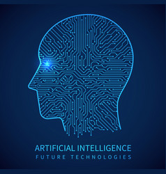 cyborg head with circuit board inside artificial vector image