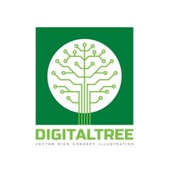 Digital tree - logo template vector image vector image