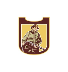 Fireman Firefighter Aiming Fire Hose Shield Retro vector image vector image