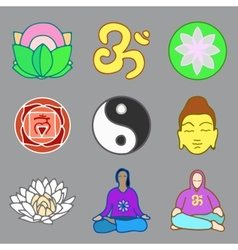 icons of yoga vector image vector image