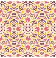 Ornamental colorful tulips seamless pattern vector image vector image