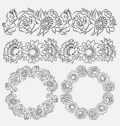 set of flower brushes and frames vector image