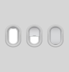 Airplane window isolated mockup open and closed vector