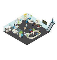 Airport interior isometric concept vector