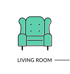 armchair living room furniture line icon vector image