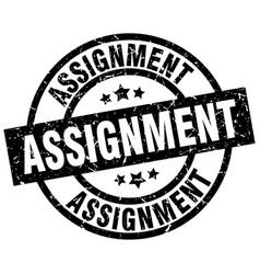 Assignment round grunge black stamp vector