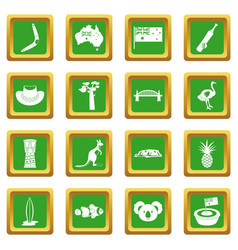 Australia travel icons set green vector