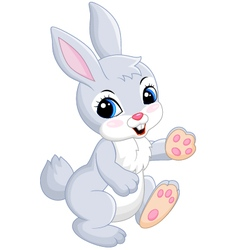 Baby of gray rabbit on white background vector