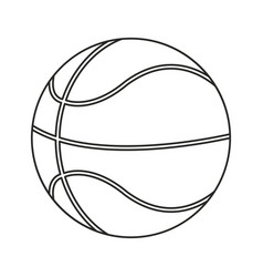 Basketball ball play thin line vector