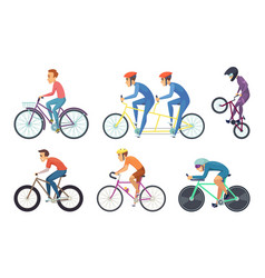 Bicyclist ride various bikes funny characters vector