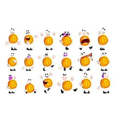 bitcoin character sett crypto currency emoji vector image
