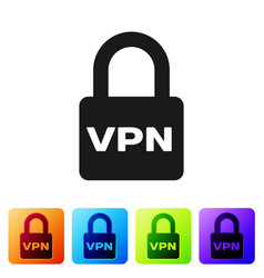 Black lock vpn icon isolated on white background vector