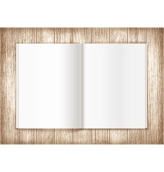 Blank magazine on wooden background Template vector image