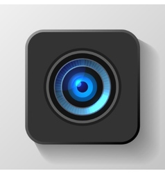 Blue Camera Lens Icon on Black vector image
