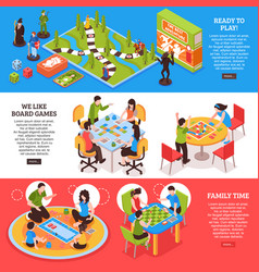 Board games people isometric banners vector