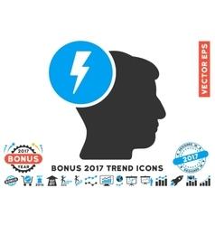 Brain Electricity Flat Icon With 2017 Bonus Trend vector