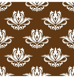 Brown and white floral seamless pattern vector image