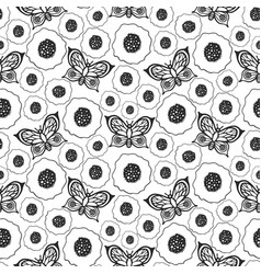 butterflies and poppies seamless pattern vector image
