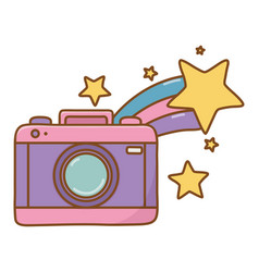 Camera and shooting star vector