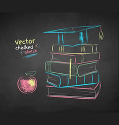 chalk drawn books and graduation hat vector image