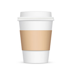 Coffee cup with sleeve mockup - front view vector