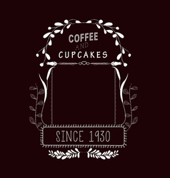 Coffee cupcakes Vintage frames and Floral vector
