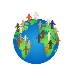 Color people simple shapes on earth isolated vector