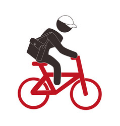 Color pictogram with messenger man in bike vector