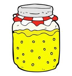 Comic cartoon honey jar vector