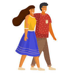 couple young girl and guy hugging walking vector image