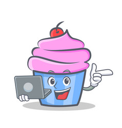 cupcake character cartoon style bring laptop vector image
