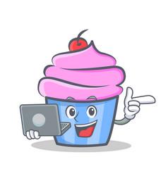 Cupcake character cartoon style bring laptop vector