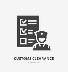 Customs clearance flat glyph icon policeman vector