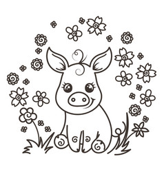 cute cartoon baby pigs in love vector image